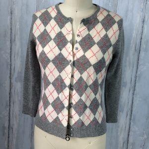 J. CREW Women 100% Cashmere Cardigan Argyle Gray S